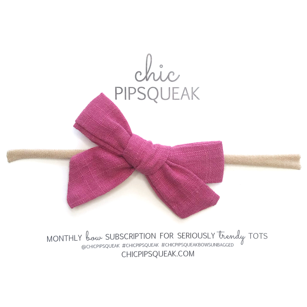 Petite Hand-Tied Bow- Muted Rose Raw Silk