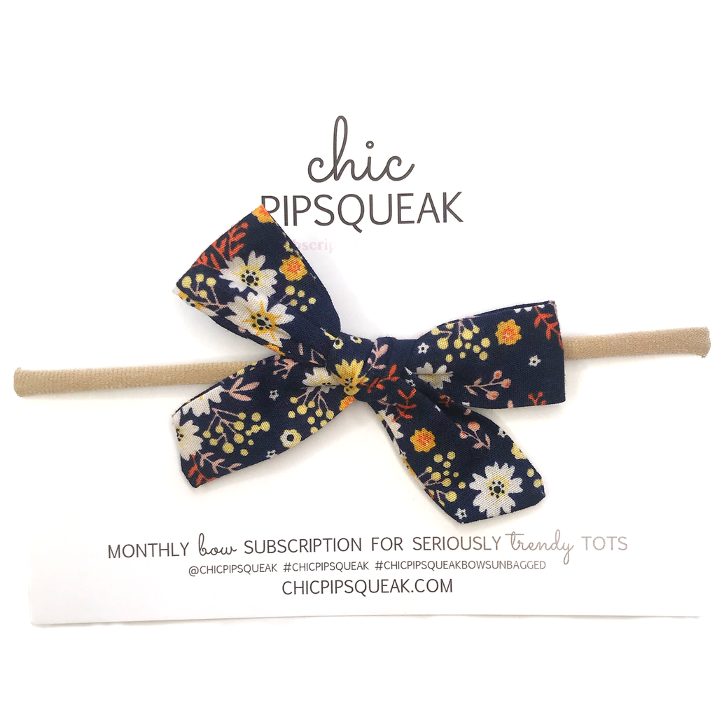 Petite Hand-Tied Bow- Navy Fall Floral