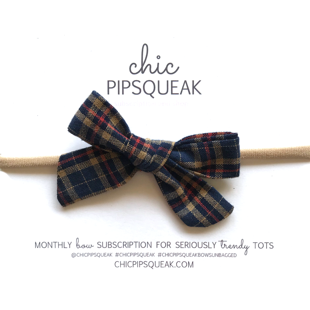 Petite Hand-Tied Bow - Navy Plaid