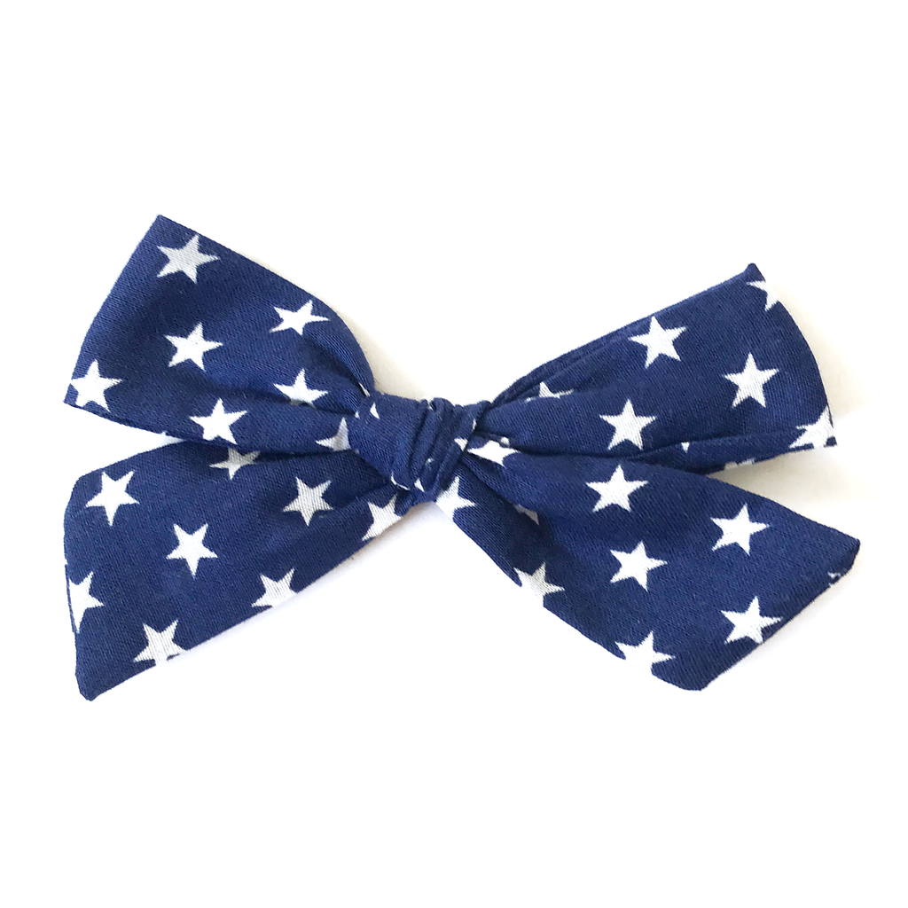 Petite Hand-Tied Bow - Navy with White Stars