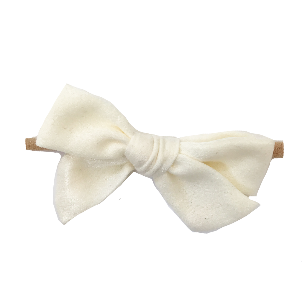 Petite Hand-Tied Bow - Off White Silk