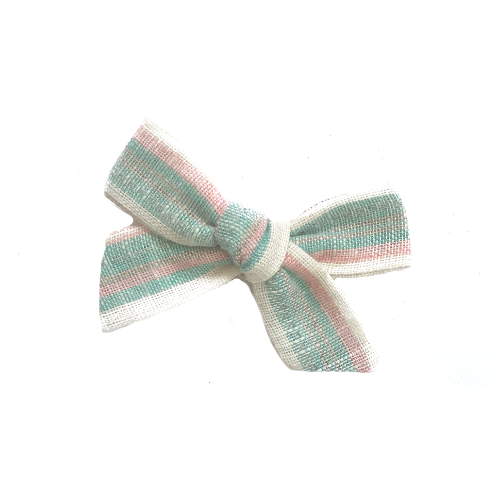 Petite Hand-Tied Bow -Pastel Pink and Aqua Stripe