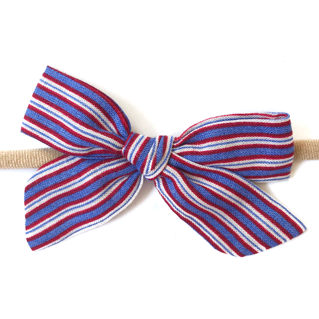 Petite Hand-Tied Bow - Patriotic Stripe