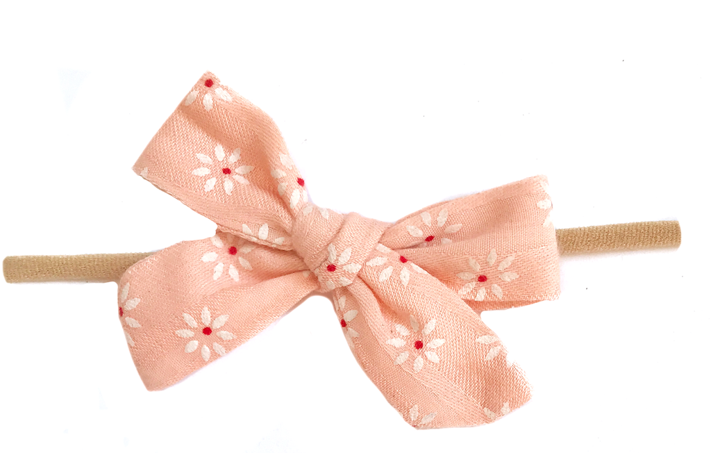 Petite Hand-Tied Bow -Peachy Pink White Daisy