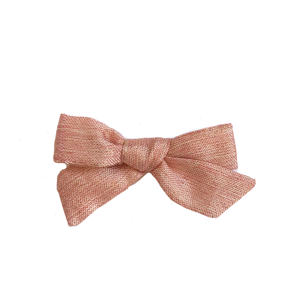 Petite Hand-Tied Bow -Pink Shimmer