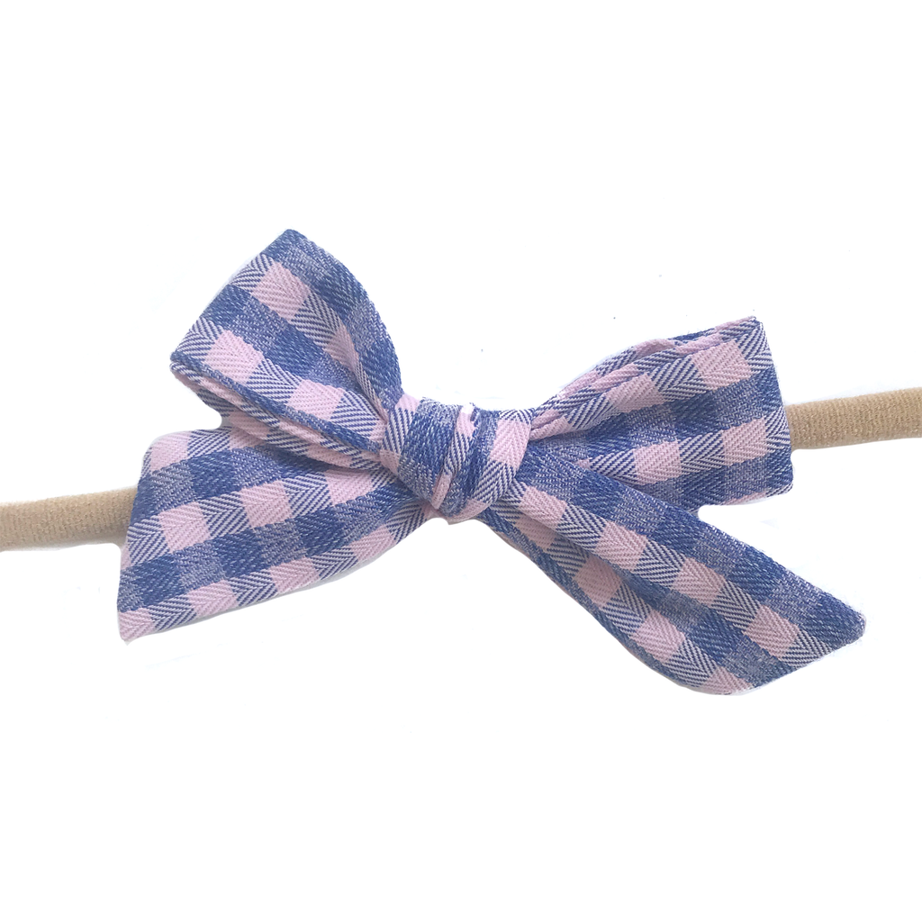 Petite Hand-Tied Bow -Pink Spring Check