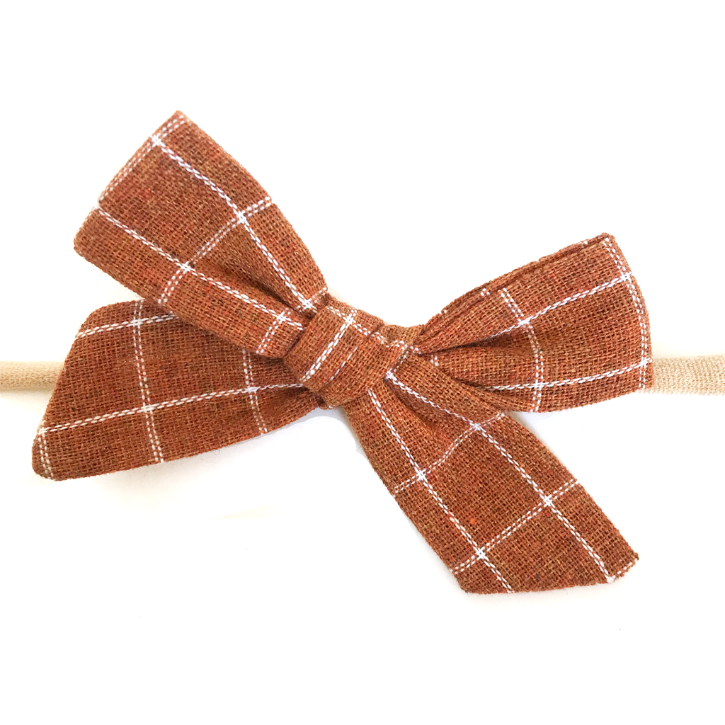 Petite Hand-Tied Bow - Pumpkin Spice Grid
