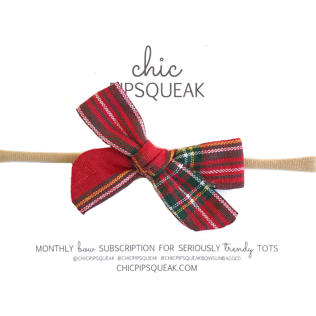 Petite Hand-Tied Bow - Red Holiday Tartan