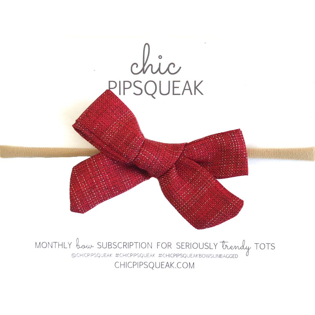 Petite Hand-Tied Bow - Red Shimmer