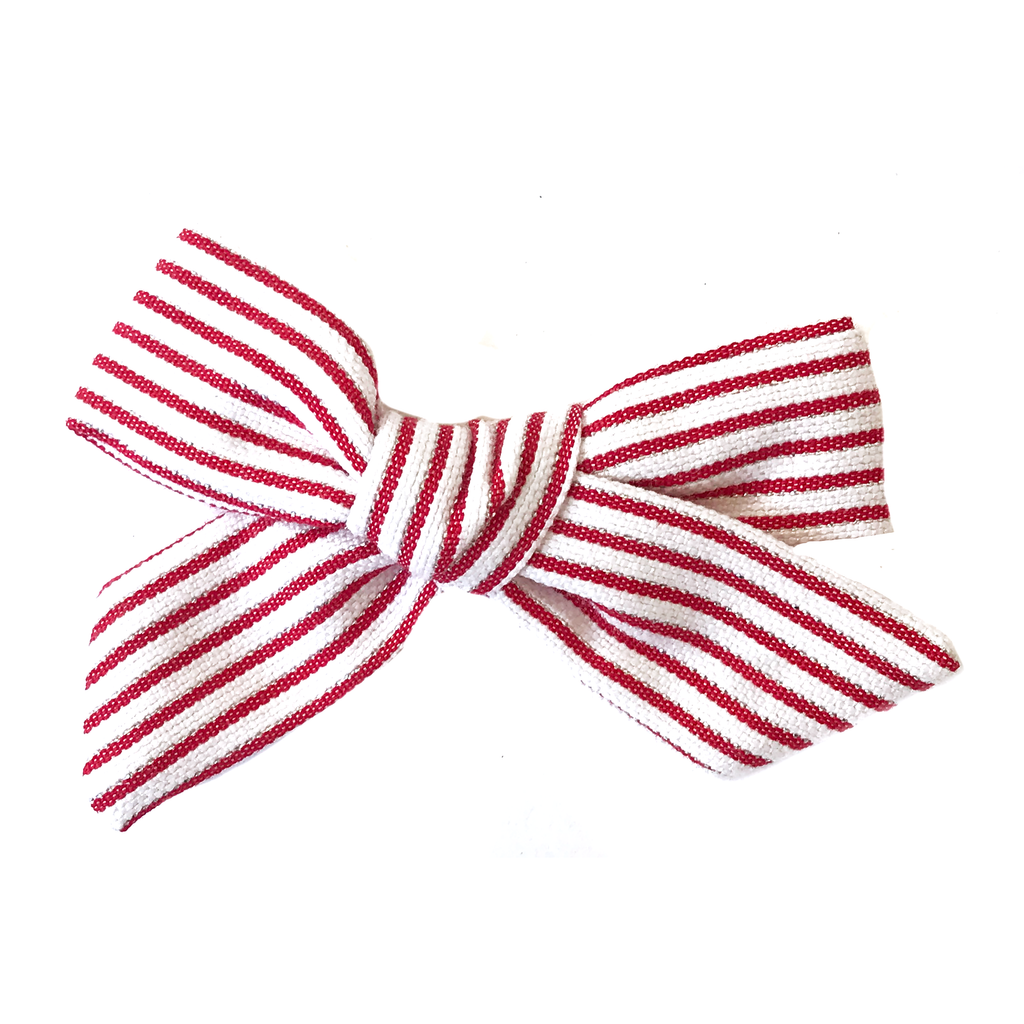 Petite Hand-Tied Bow - Red, Silver and White Stripe