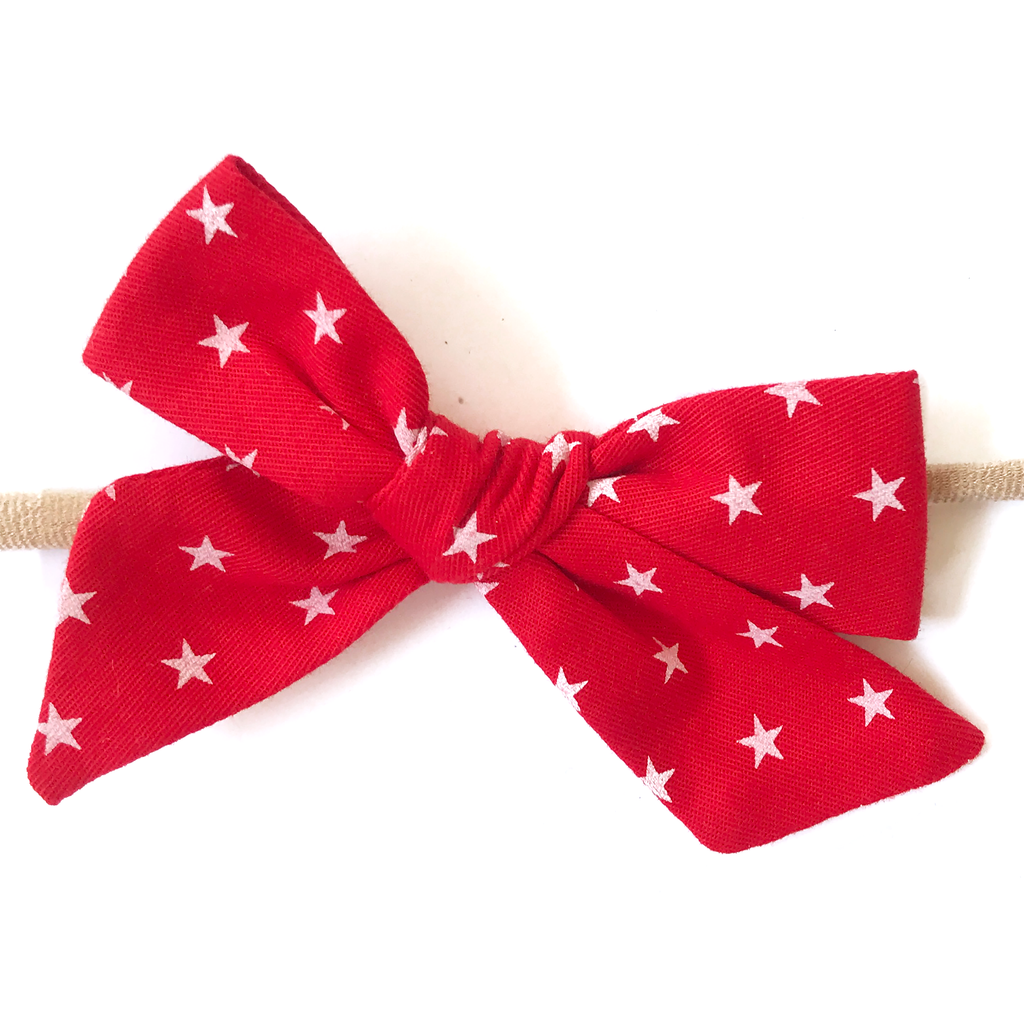 Petite Hand-Tied Bow - Red with White Stars