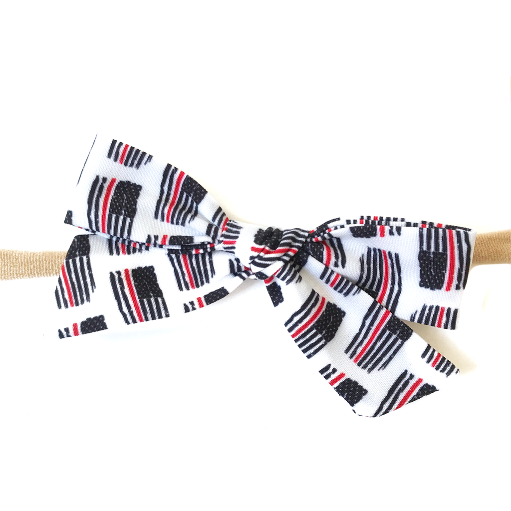 Petite Hand-Tied Bow - Thin Red Line Flag