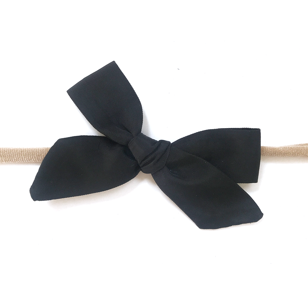 Petite Hand-Tied Bow - Water Black