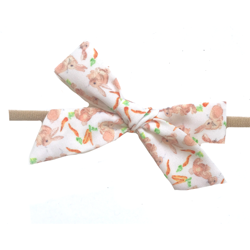 Petite Hand-Tied Bow -White Bunny