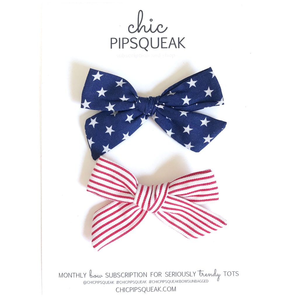 Petite Stars and Stripes Pig Tail Set