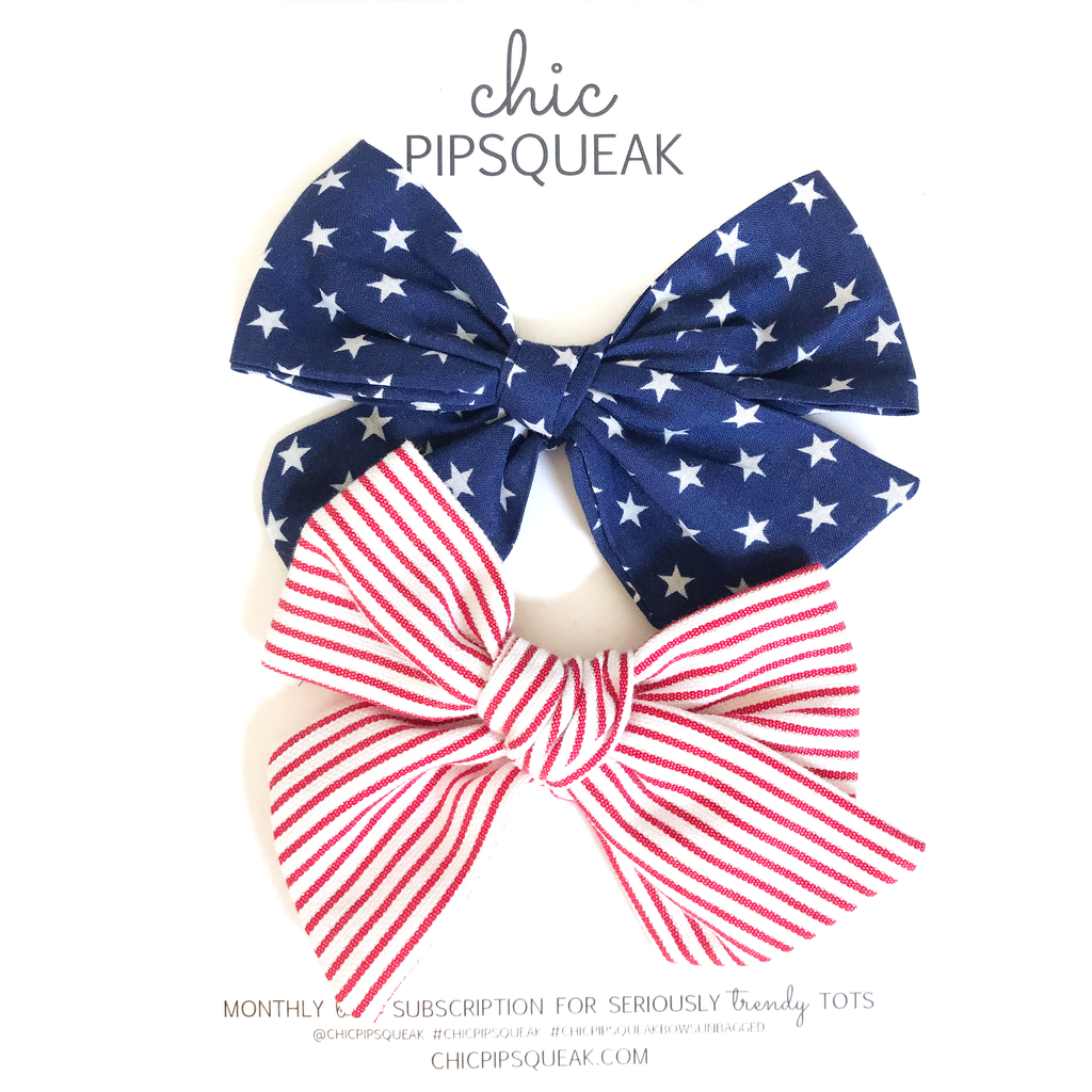 Stars and Stripes Pig Tail Set