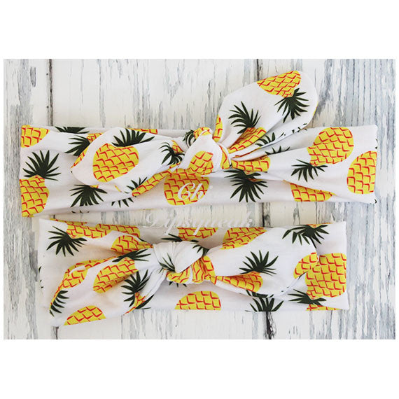 Top Knot Headband, Colorful Pineapple