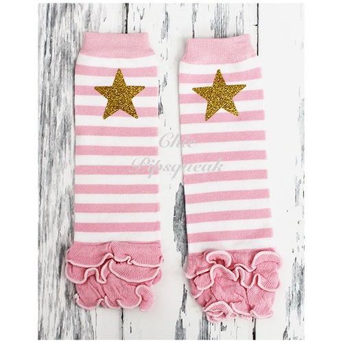 Baby and Kids Leg Warmers, White and Pink Stripe with Star and Ruffles