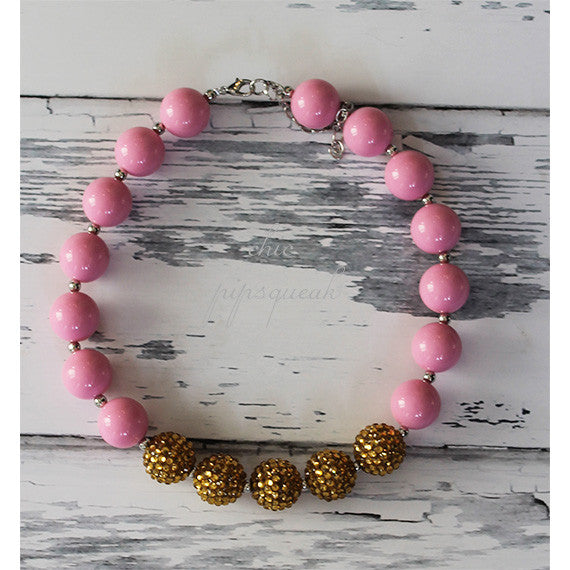 Chunky Bubblegum Baby and Kids Necklace, Solid Pink and Gold