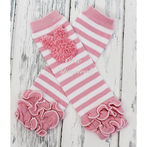 Baby and Kids Leg Warmers, Stripe Pink and White with Pink Bunny