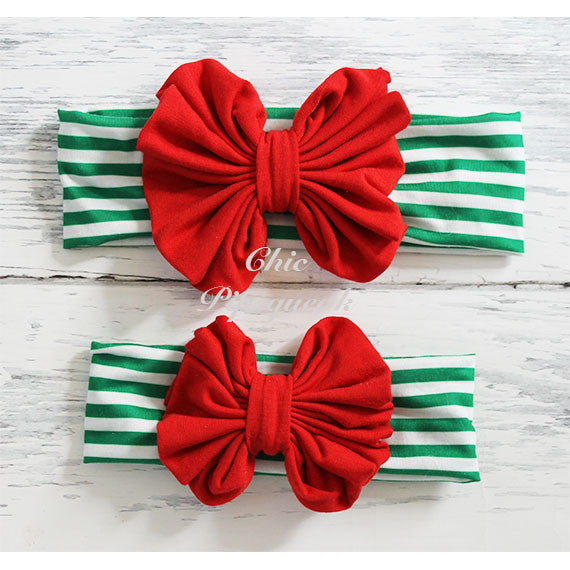 Floppy Bow Headband, Red Floppy Bow on Green and White Stripe