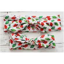 Holiday Top Knot Headband, Red/Green Lights