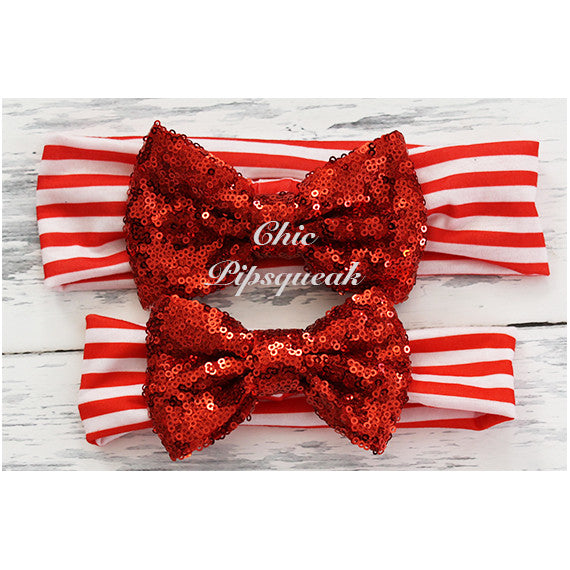 Sequin Bow Headband, Red Sequin Bow on Red and White