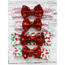 Sequin Bow Headband, Red Sequin Bow on Candy Cane