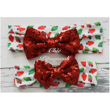 Sequin Bow Headband, Red Sequin Bow on Holiday