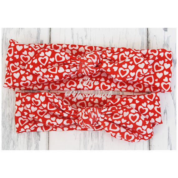 Top Knot Headband, Red and White Hearts on Red