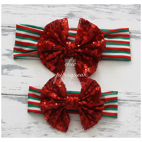 Floppy Sequin Bow, Red Bow on Red/White/Green
