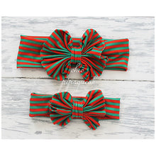 Floppy Bow Headband, Stripe Red/White/Green