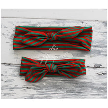 Top Knot Headband, Red/White/Green Stripe