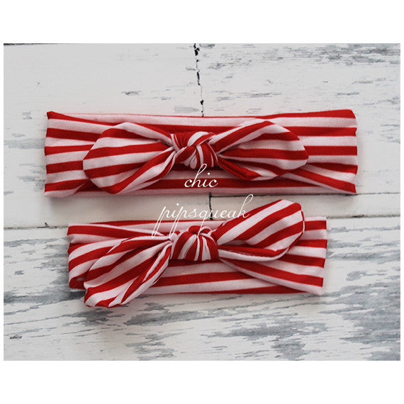 Top Knot Headband, Red/White Stripe