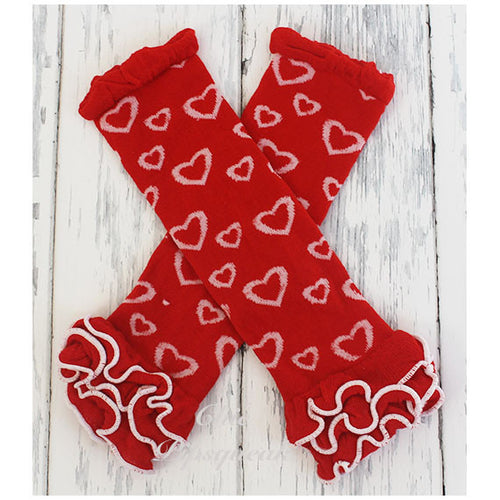 Baby and Kids Leg Warmers, Red with White Hearts Ruffles