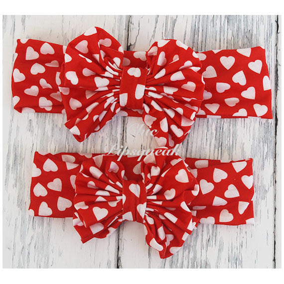 Floppy Bow Headband, Red with Red/White Hearts