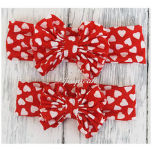 Floppy Bow Headband, Red with White Hearts