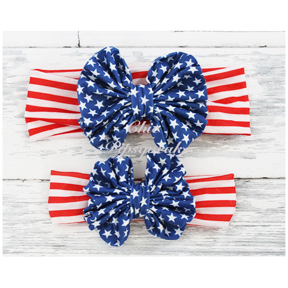 Floppy Bow Headband, Royal 4th of July