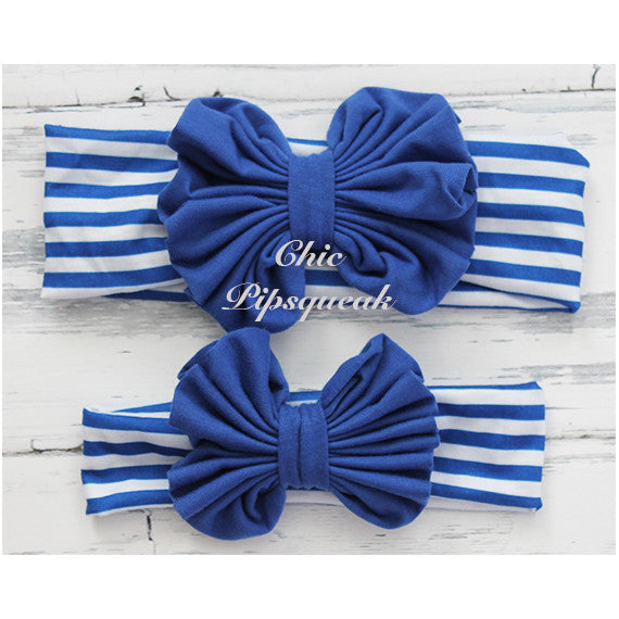 Floppy Bow Headband, Royal Floppy Bow on Royal and White Stripe