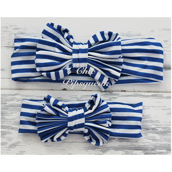Floppy Bow Headband, Royal and White Stripe