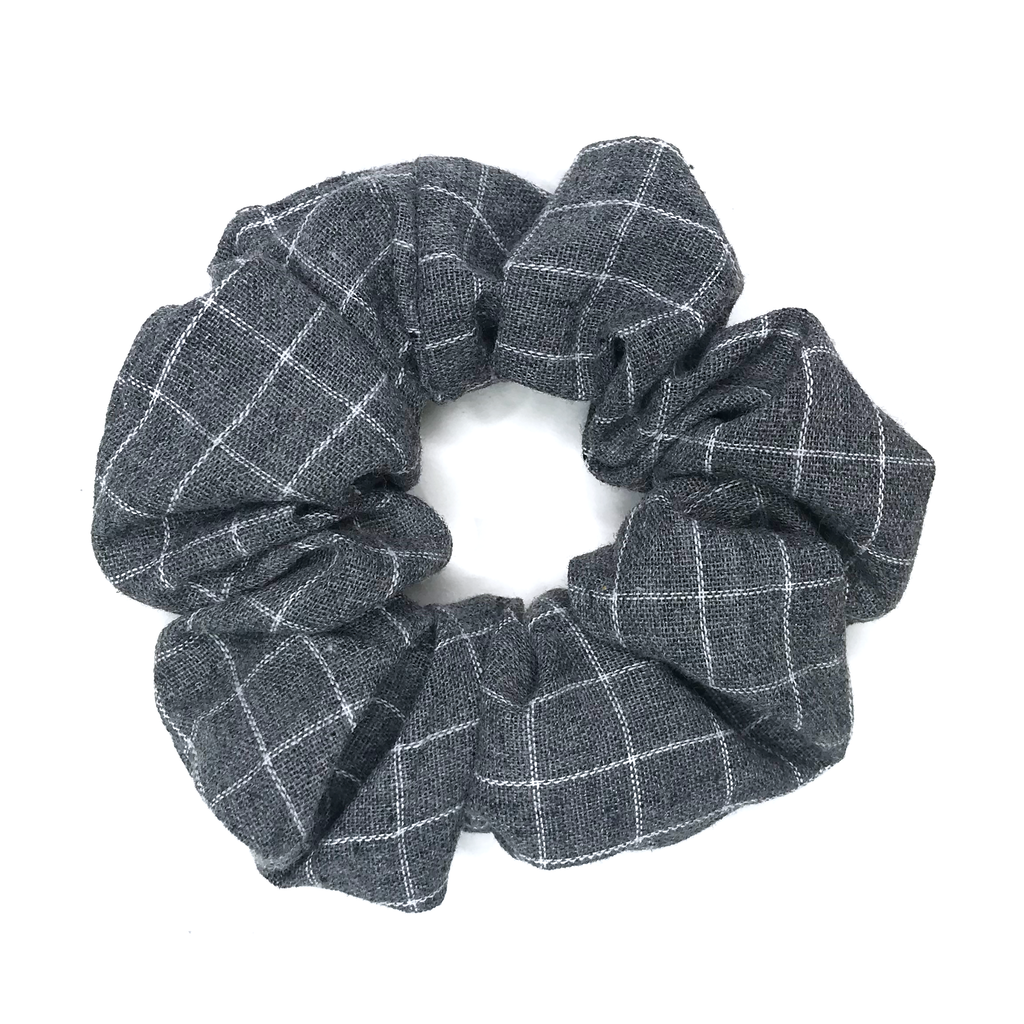 Scrunchie- Gray Grid