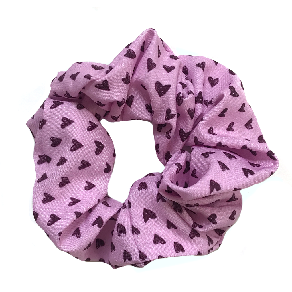 Scrunchie- Light Pink Black Heart