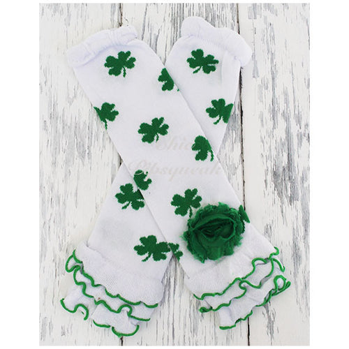 Baby and Kids Leg Warmers, Green Shamrocks on White Ruffles