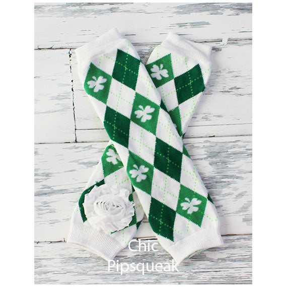 Baby and Kids Leg Warmers, Argyle Shamrocks