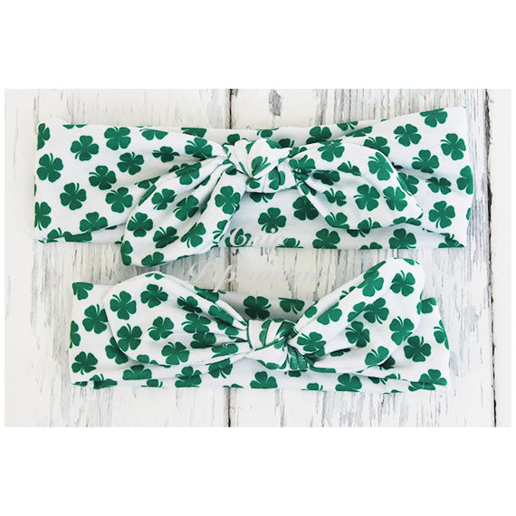 Top Knot Headband, Watercolor Shamrock