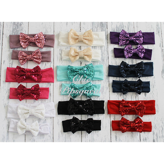 Sequin Bow Headband Solid Color