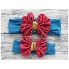 Floppy Bow Headband, Dark Pink and Gold Bow on Turquoise