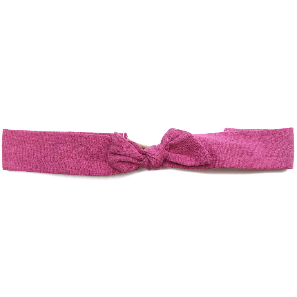 Vintage Headband- Muted Rose Raw Silk