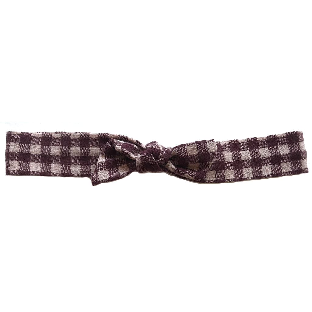 Vintage Headband- Cranberry Buffalo