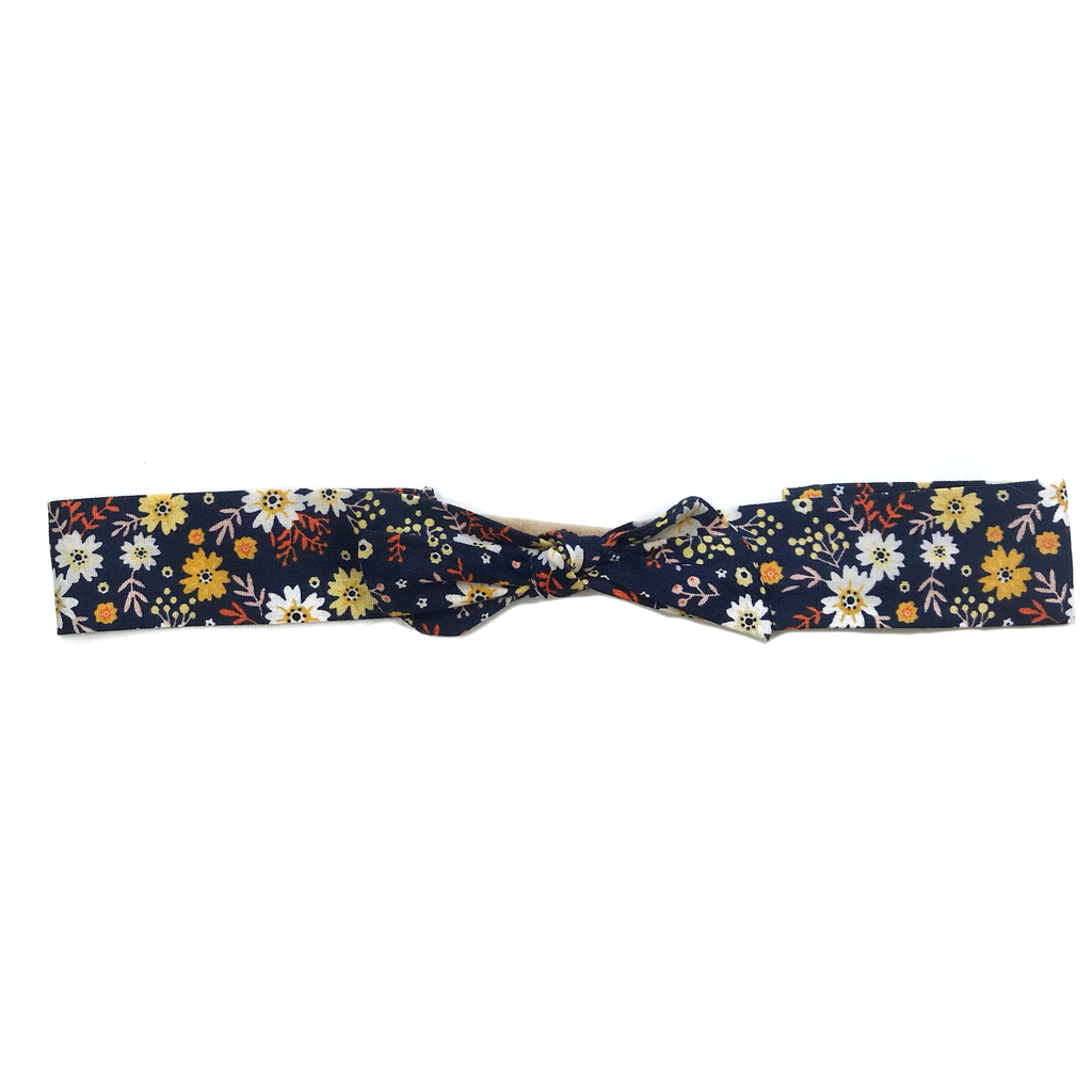 Vintage Headband- Navy Fall Floral
